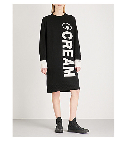 MINI CREAM Round neck wool-blend dress (Bkx