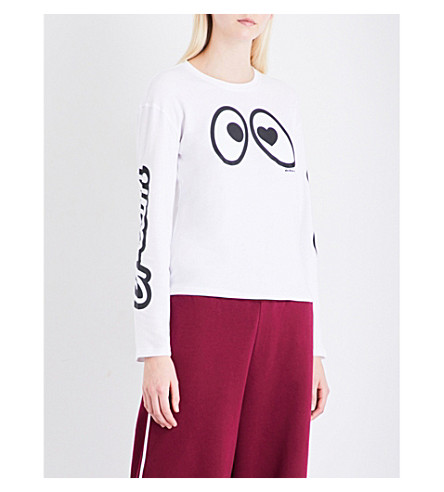 MINI CREAM Eye Logo cotton-jersey top (Whx