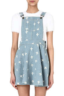 MINI CREAM I.T denim overall dress