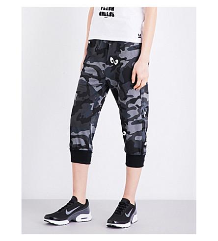 MINI CREAM Camouflage-print cotton-jersey track pants (Black