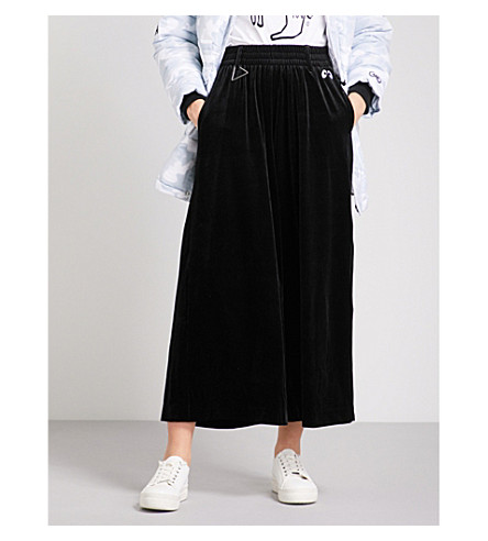 MINI CREAM Wide velvet trousers (Bkx