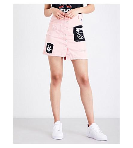 MINI CREAM Patch-detail denim skirt (Pink