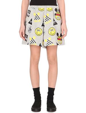 MINI CREAM Printed wide-legged shorts