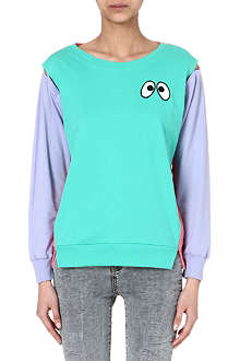 MINI CREAM Striped cartoon eyes sweatshirt