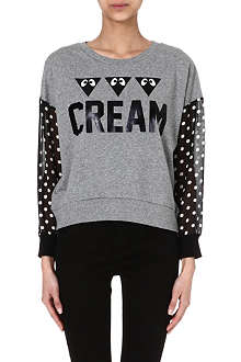 MINI CREAM Sheer polka dot-sleeve sweatshirt
