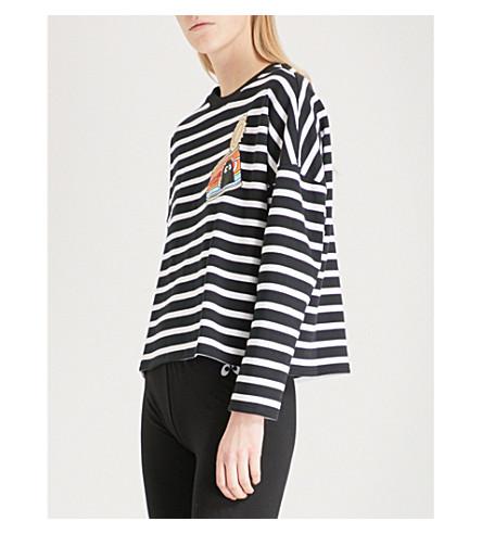MINI CREAM Striped print cotton-blend sweatshirt (Bkx