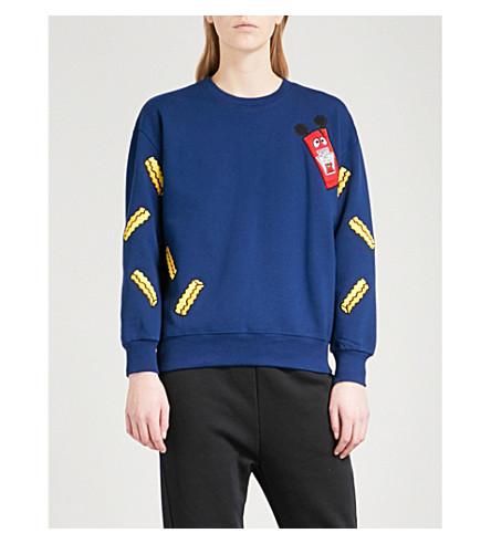 MINI CREAM Logo-embroidered cotton-blend sweatshirt (Navy