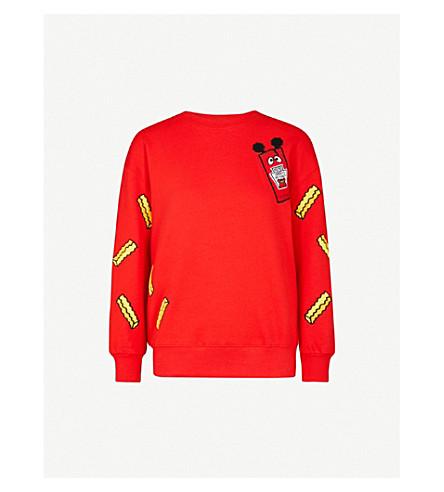 MINI CREAM Logo-embroidered cotton-blend sweatshirt (Red