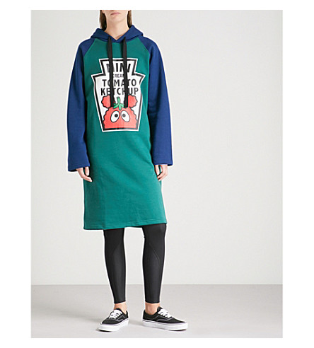 MINI CREAM Tomato Ketchup cotton-blend hoody dress (Green