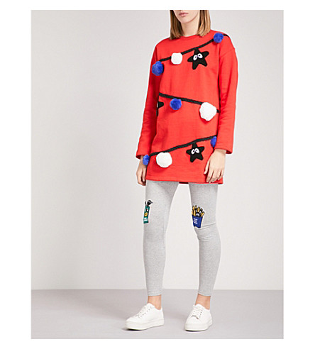 MINI CREAM Star and pom pom-embroidered cotton-jersey sweatshirt (Rdx