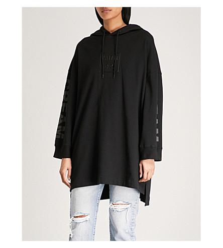 MINI CREAM Logo-flocked cotton-jersey hoody (Black