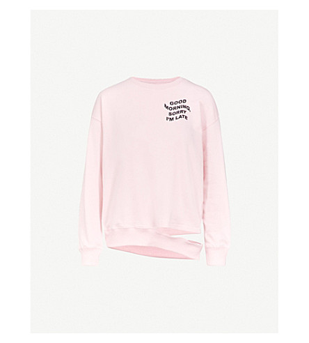 MINI CREAM Printed cotton-blend sweatshirt (Pink