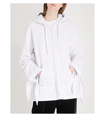 MINI CREAM Tie-cuff printed cotton-jersey hoody (Grey
