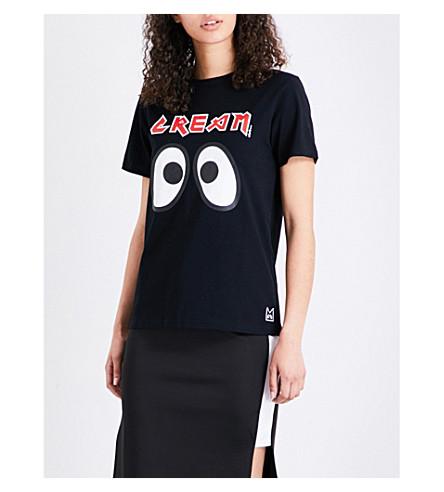 MINI CREAM Eye-print cotton-jersey T-shirt (Black