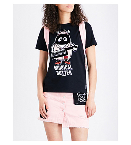 MINI CREAM Graphic-print cotton-jersey T-shirt (Black