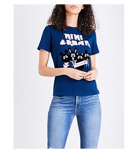 MINI CREAM Flocked logo-detail cotton-jersey T-shirt (Navy