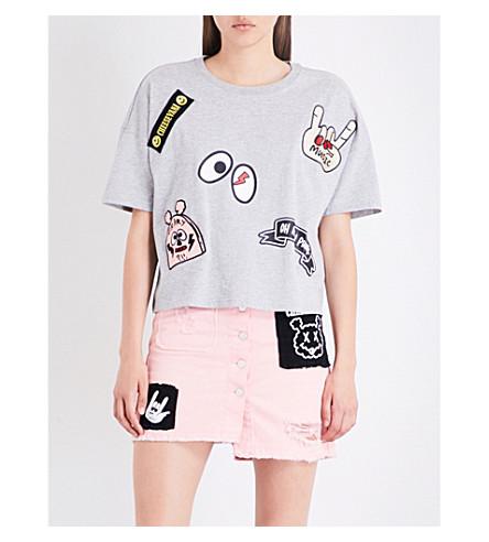 MINI CREAM Patch-detail cotton-jersey T-shirt (Gy2