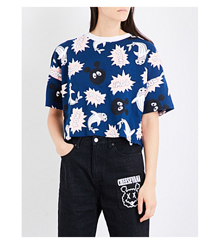 MINI CREAM Pow cropped cotton-jersey T-shirt (Nyx