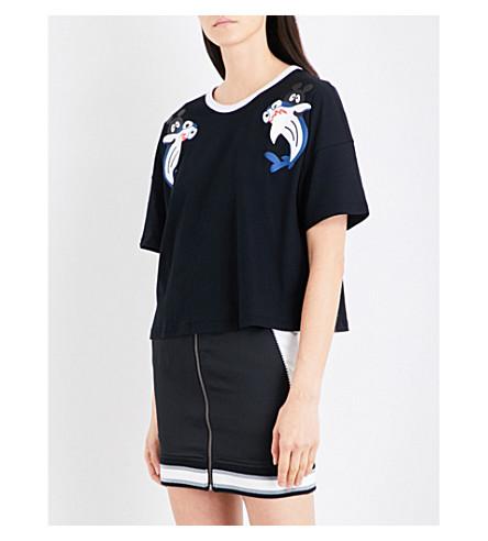 MINI CREAM Shark cropped cotton-jersey T-shirt (Bkx