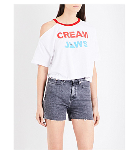 MINI CREAM Jaws cold-shoulder cotton-jersey cropped top (Whx