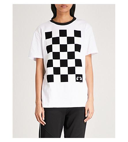 MINI CREAM Checkerboard cotton-jersey T-shirt (White
