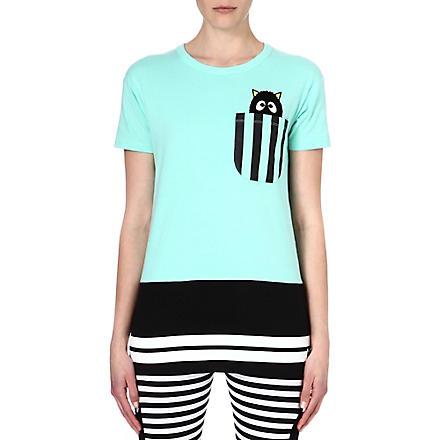 MINI CREAM I.T striped pocket cotton t-shirt (Turquoise