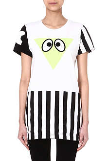 MINI CREAM I.T stripe panel eye-print t-shirt