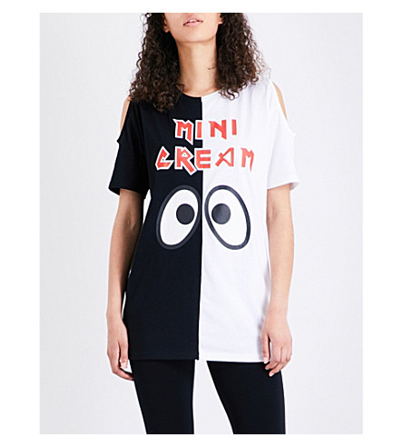 MINI CREAM Logo-print cotton-jersey tunic (Black