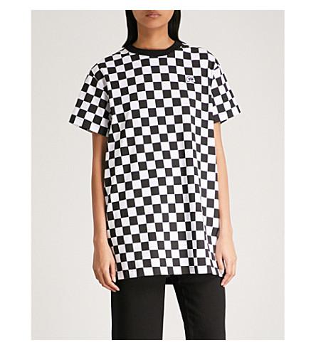 MINI CREAM Checkerboard cotton-jersey tunic (Black