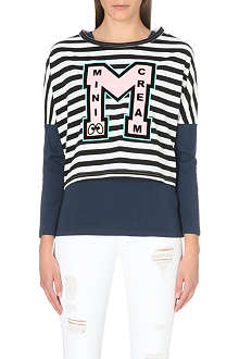 MINI CREAM I.T Stripe logo twinset top