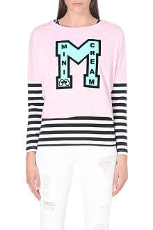 MINI CREAM I.T Stripe logo twinset top
