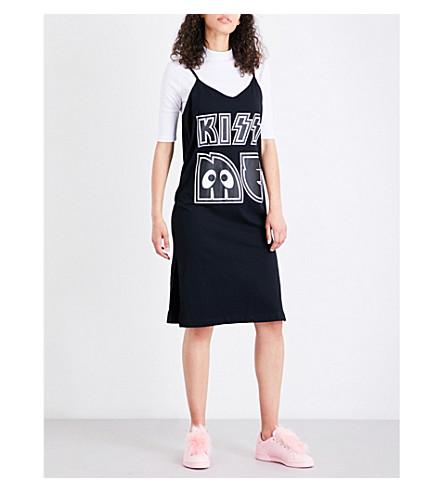 MINI CREAM Kiss me printed cotton-jersey dress (White