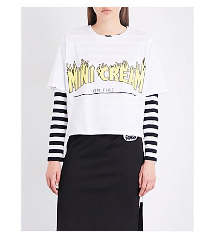 MINI CREAM Layered cotton-jersey twin T-shirt set (Whx