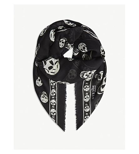 ALEXANDER MCQUEEN Skull-print silk-blend scarf (Black/ivory
