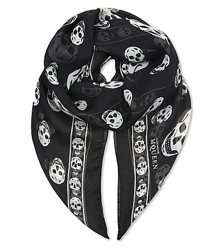 ALEXANDER MCQUEEN Skull-print silk scarf (Black/ivory