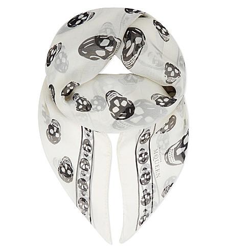 ALEXANDER MCQUEEN Classic skull print silk-chiffon scarf (Ivory/black