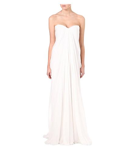 ALEXANDER MCQUEEN Bustier silk gown (Ivory