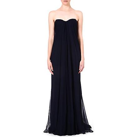 ALEXANDER MCQUEEN Bustier silk gown (Navy
