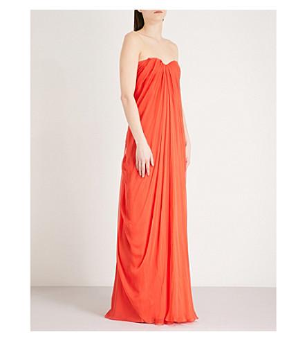 ALEXANDER MCQUEEN Bustier silk-chiffon gown (Coral