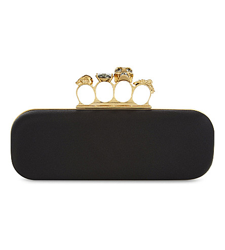 ALEXANDER MCQUEEN Knuckleduster satin box clutch (Nero