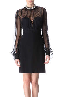 ALEXANDER MCQUEEN Embellished silk and crepe dress