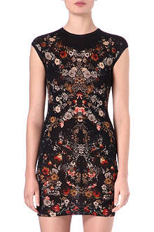 ALEXANDER MCQUEEN Floral cap-sleeved dress