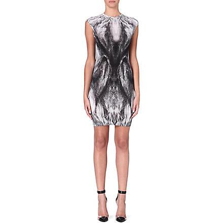 ALEXANDER MCQUEEN Feather-print wool dress (Grey