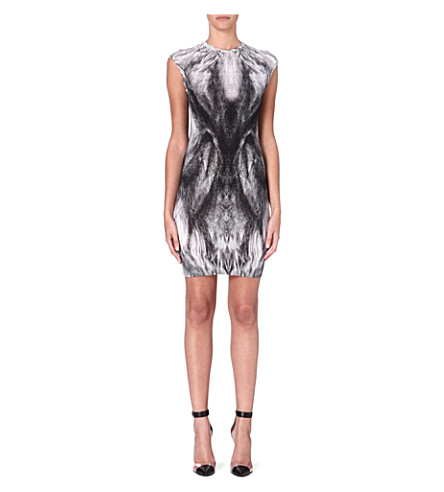 ALEXANDER MCQUEEN Feather-print wool dress (Grey