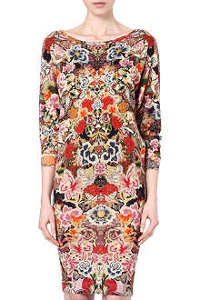 ALEXANDER MCQUEEN Floral slouch boat-neck dress