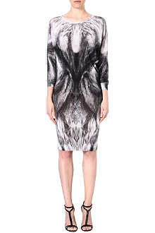 ALEXANDER MCQUEEN Feather-print wool dress