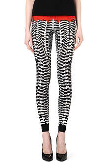 ALEXANDER MCQUEEN Feather jersey leggings
