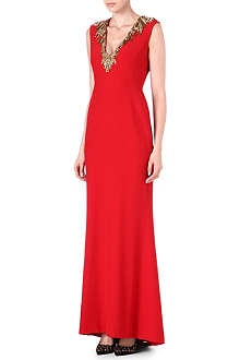 ALEXANDER MCQUEEN Embellished-neckline evening gown
