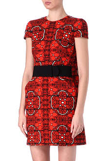 ALEXANDER MCQUEEN Stained-glass printed wool dress