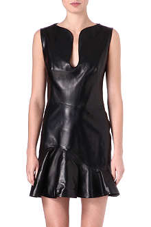 ALEXANDER MCQUEEN Ruffled-hem leather dress
